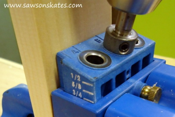 Quick Start Guide: How to setup and use a Kreg Jig to make pocket holes - Drill second pocket hole