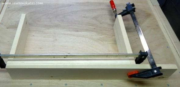 DIY Chalkboard Shadowbox clamp middle shelf