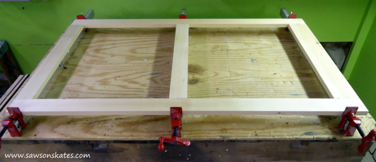 diy wood window frame clamped
