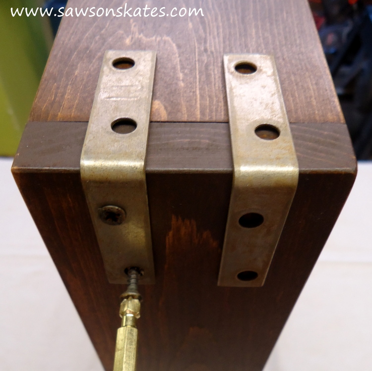 diy bar cart install straps 2