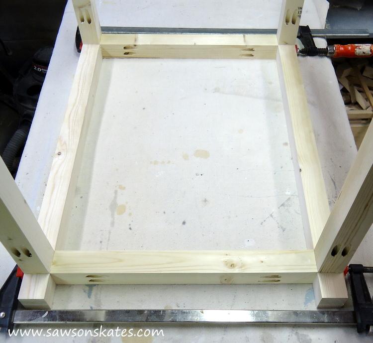 diy bar cart legs attached to rails