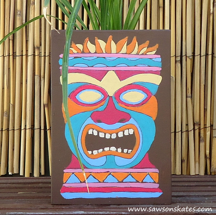 Wooden Tiki Head Drawing DIY Painted Wooden Tik...
