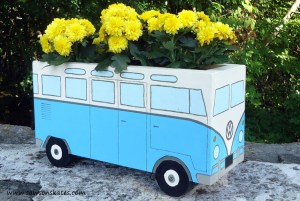 DIY Flower Power Painted Wood Bus Planter