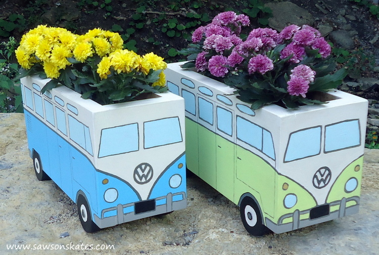 I've seen a lot of outdoor planter ideas, but these are the grooviest! This DIY painted wood planter is in the shape of the iconic bus. Perfect of the patio or porch!