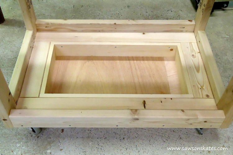 diy fliptop workbench cart storage tray B