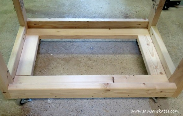 diy fliptop workbench cart storage tray hole