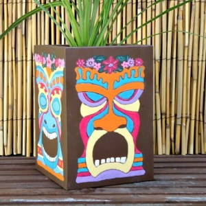 DIY Painted Wooden Tiki Mask Planter