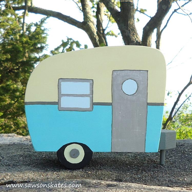 DIY Painted Wooden Vintage Camper Napkin Holder - Blue Camper