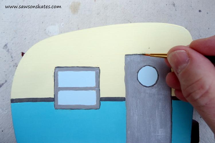 DIY Painted Wooden Vintage Camper Napkin Holder - Paint the camper 4