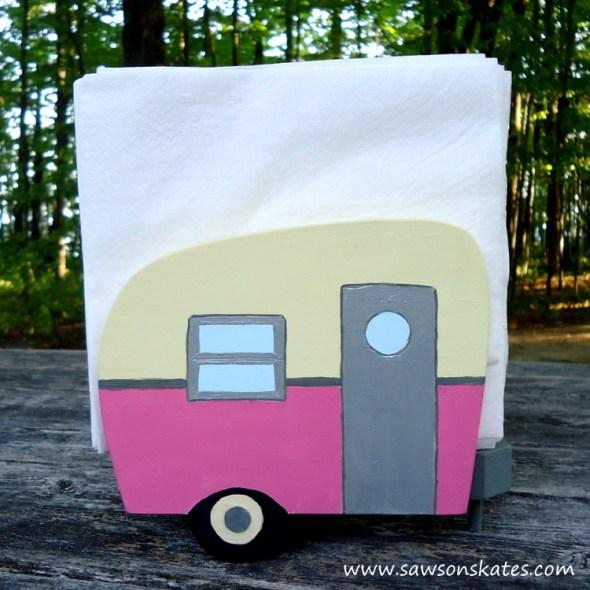 Pink Vintage Camper Napkin Holder - Free Plans