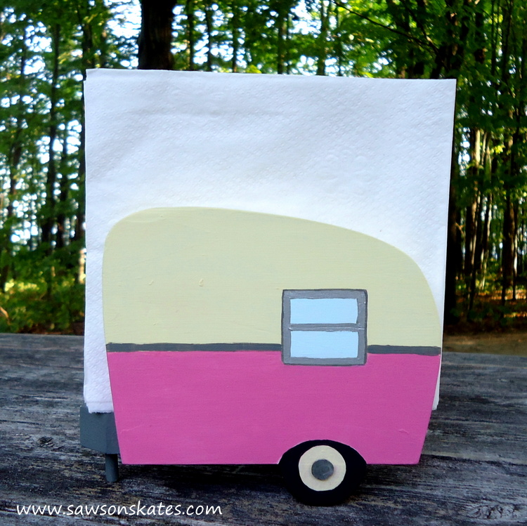 Pink DIY Painted Wooden Vintage Camper Napkin Holder