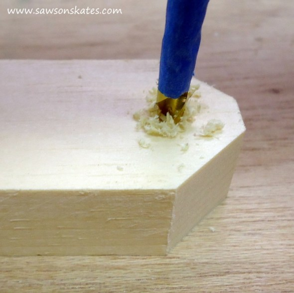 DIY Painted Wooden Vintage Camper Napkin Holder - Drill a hole in the bottom