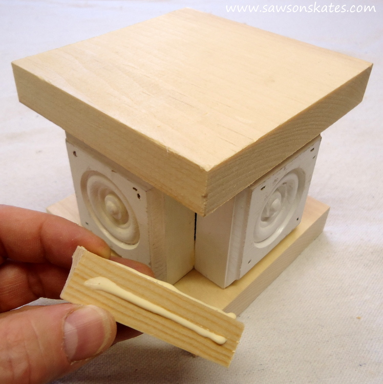 Easy wooden DIY candle holder - apply glue to cove moulding