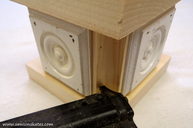 Easy wooden DIY candle holder - attach cove moulding