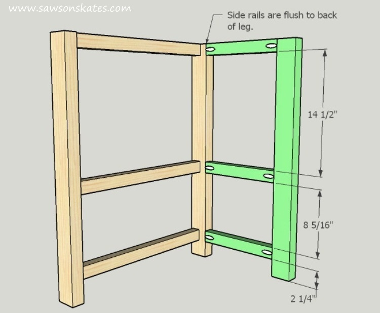 DIY Kitchen Island plans - easy to build, small space kitchen island on wheels - Left Side Assembly