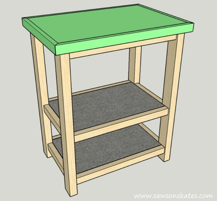 DIY Kitchen Island plans - easy to build, small space kitchen island on wheels - Top Installation