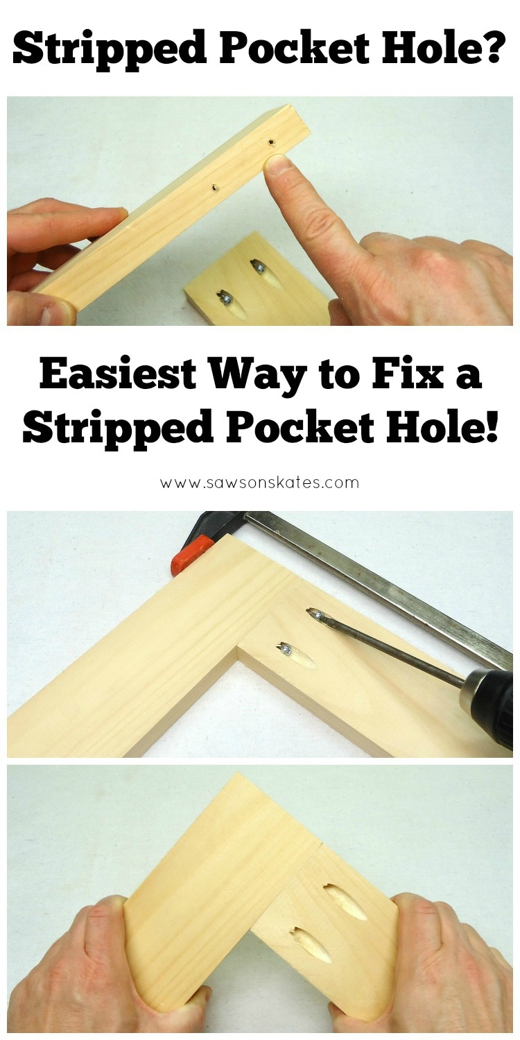 Over tightening pocket screws or removing a pocket screw and then trying to reattach it can strip the pocket hole. This is the easiest way to fix a stripped pocket hole!
