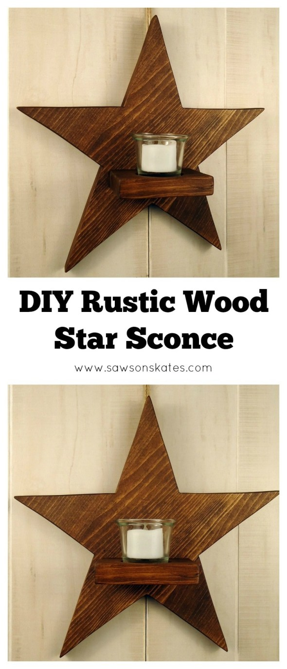 Who doesn't like stars, wood and candles? All three come together for this easy to make DIY rustic wood star sconce!