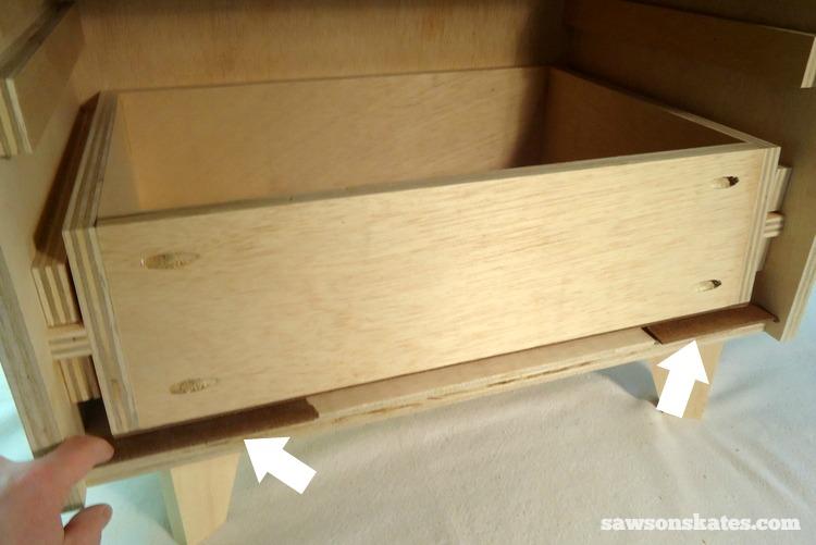 DIY Mid-Century Modern Nightstand - drawer front 1
