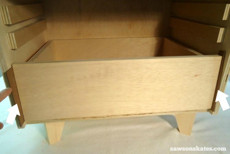 DIY Mid-Century Modern Nightstand - drawer front 2