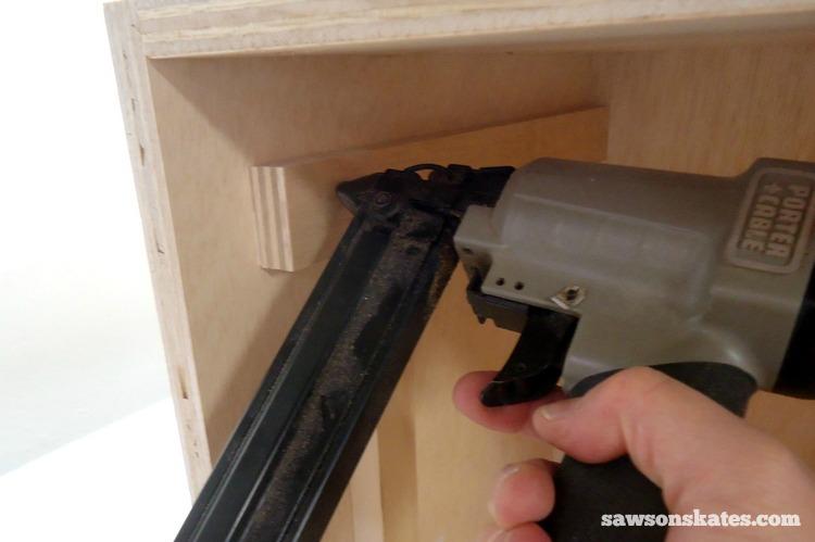 DIY Mid-Century Modern Nightstand - drawer supports 2