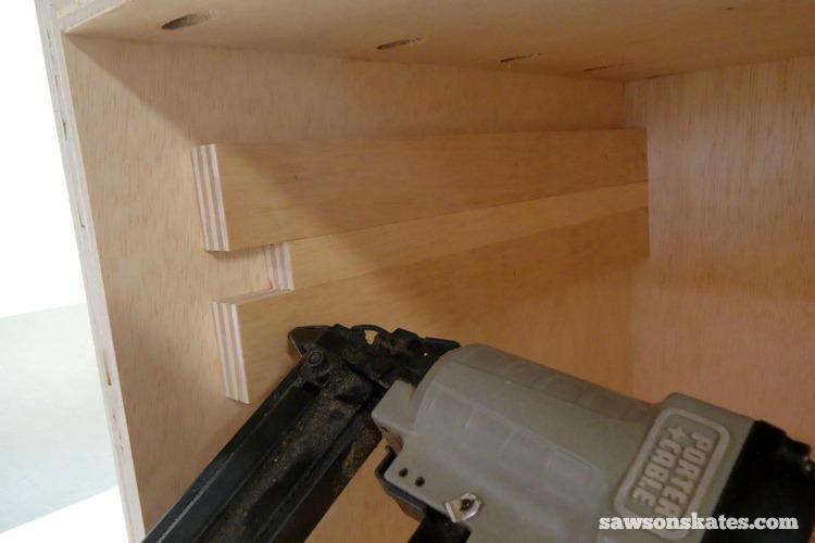 DIY Mid-Century Modern Nightstand - drawer supports 3