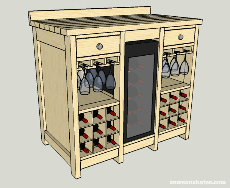 reputable site 44d70 964f6 DIY Wine Credenza with Refrigerator (Free Plans) | Saws on ...