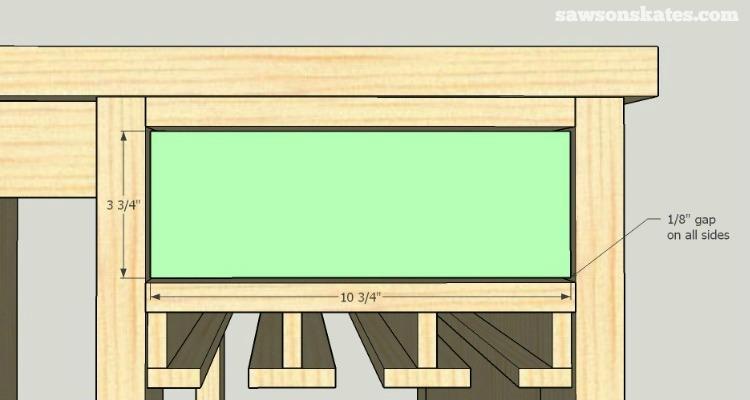 DIY Wine Credenza - Wine Cabinet - drawer installation