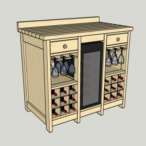 DIY Wine Credenza with Wine Refrigerator