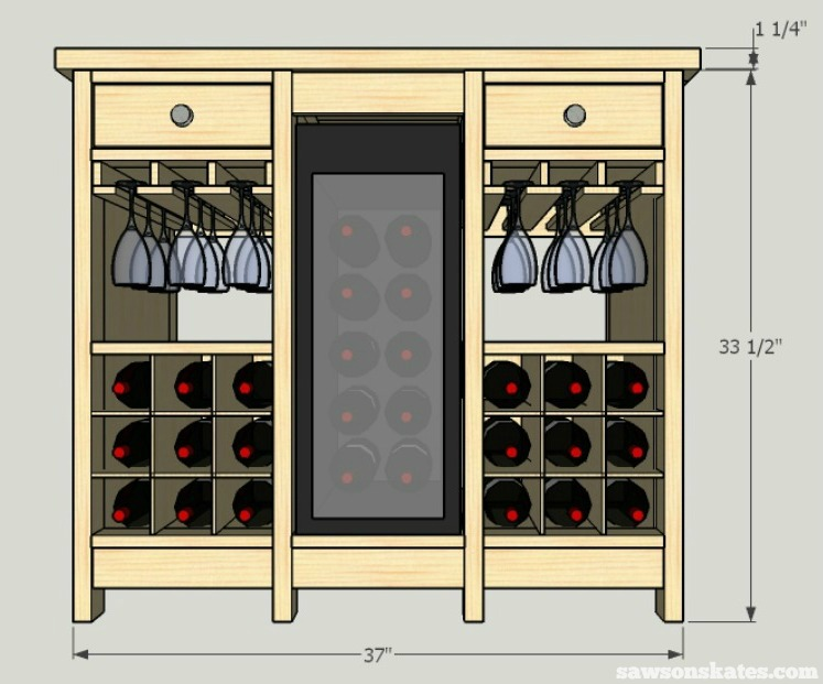 Super Diy Wine Credenza With Refrigerator Free Plans Saws On Beutiful Home Inspiration Aditmahrainfo