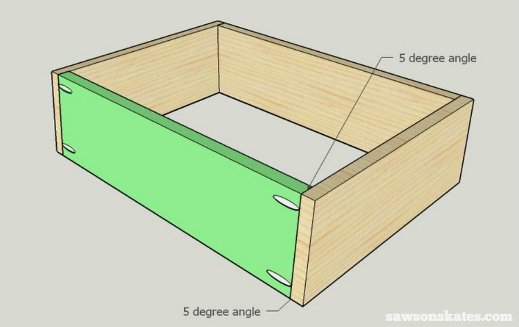 DIY Mid-Century Modern Nightstand - drawer box front