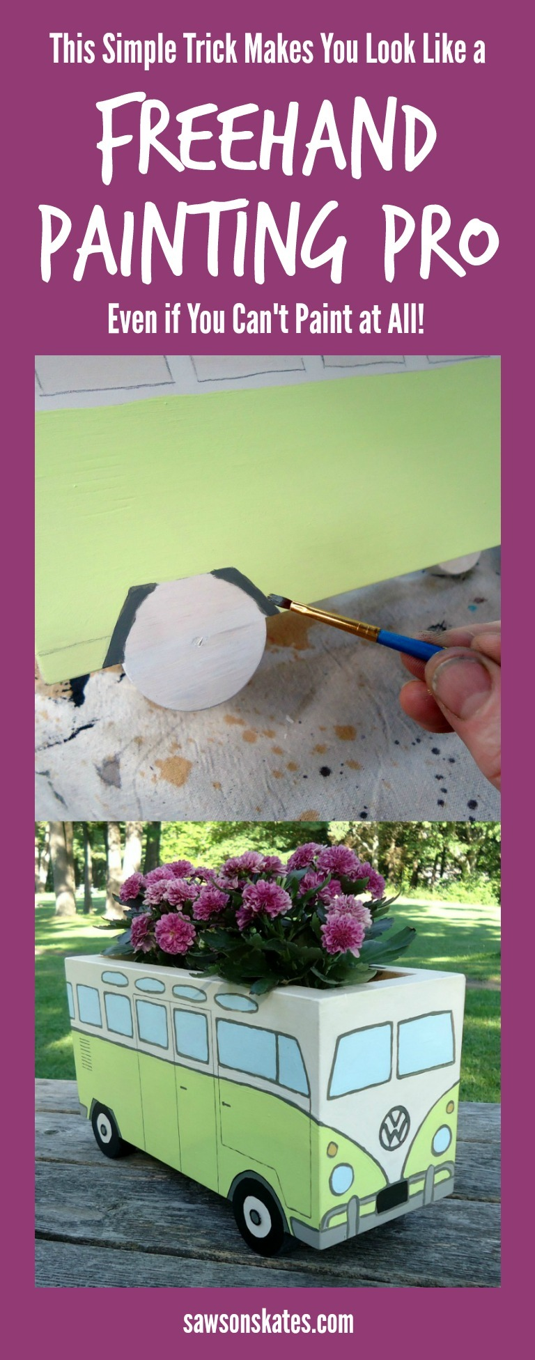Think you can't paint freehand? Think again! I'll show you a simple trick to make you look like a freehand painting pro! All you'll need is a wood project to paint on, craft paints, paint brushes and your design ideas... a line drawing, picture, a few words or a phrase.
