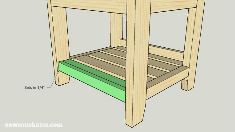 Small DIY Bathroom vanity plans - make the front slat