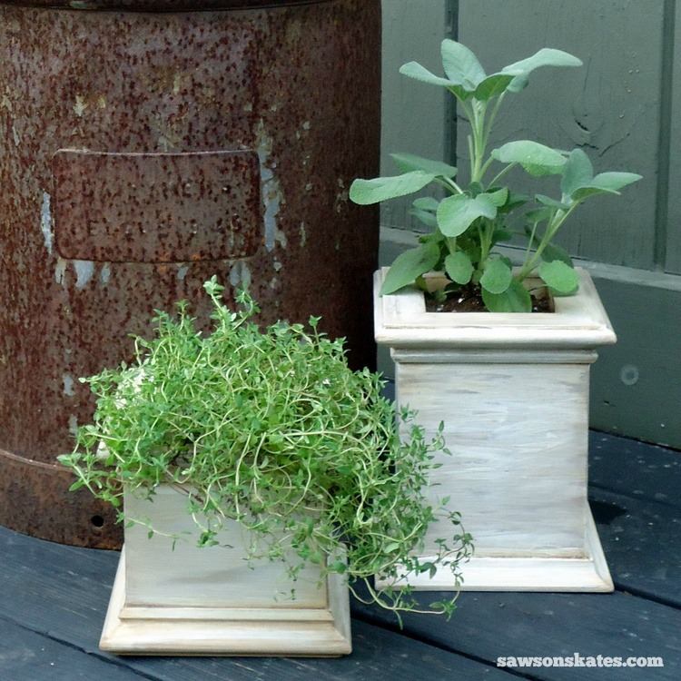 antiqued wooden patio planters