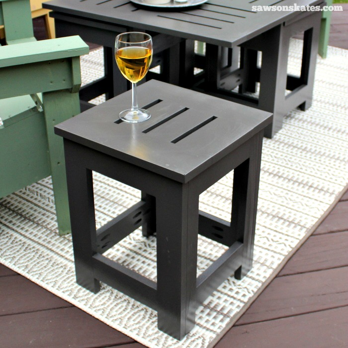 Lovely Easy DIY Outdoor Coffee Table Plan With 4 Hidden Side Tables   Place A Side  Table