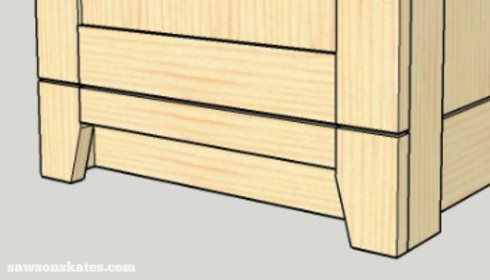 DIY Shaker Bathroom Vanity - feet and toe kick detail