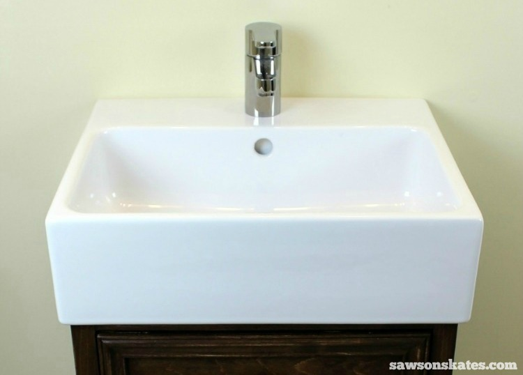 DIY Shaker Bathroom Vanity - this vanity features an IKEA sink. Can you say IKEA HACK?!