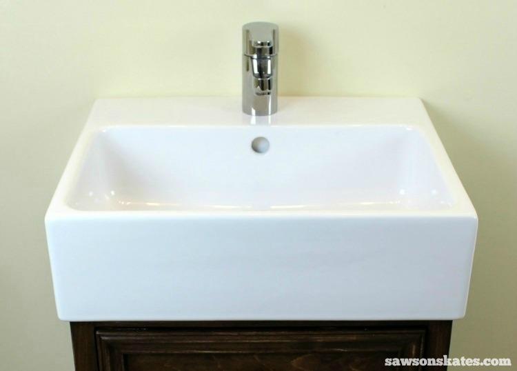 DIY Shaker Bathroom Vanity - this vanity features an IKEA sink. Can you say IKEA HACK?!