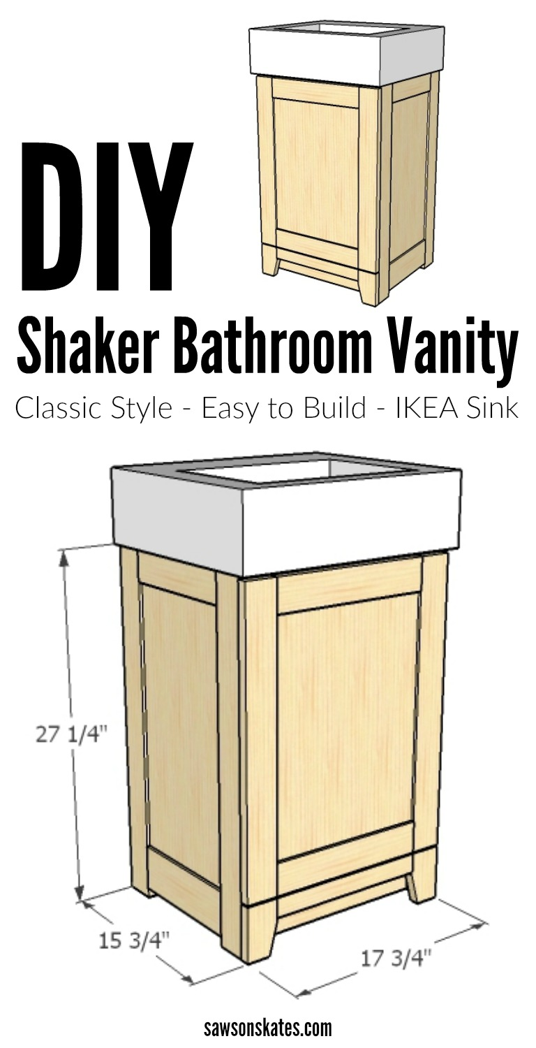 I LOVE Shaker style bath ideas! Check out these easy to build plans for a wood DIY Shaker bathroom vanity. The design is perfect for a small bath and it features an IKEA sink. Stain it or just imagine it painted white!