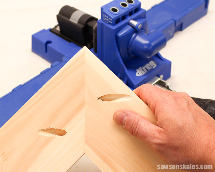 Drilling pocket holes on miter joints takes a little extra planning but is just as easy drilling pocket holes on butt joints and edge joints.