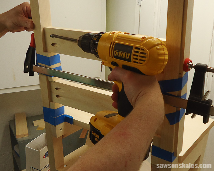 DIY Ladder Chair - make and install the back rails
