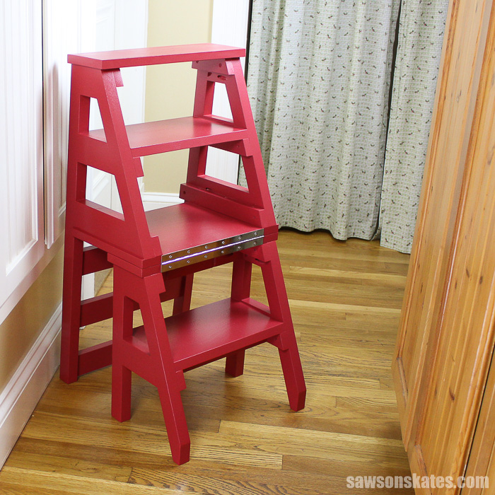 A DIY Ladder Chair in the step ladder position