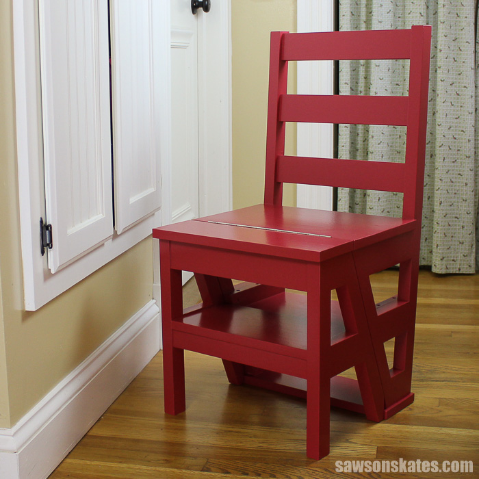 This DIY ladder chair leads a double life. It serves as an extra seat and then flips to become a ladder for an extra boost.