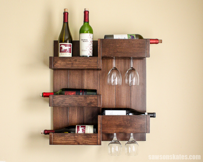 How to spray polyurethane - this wall-mounted wine bar has a professional looking finish
