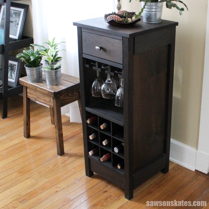 This DIY wine cabinet is simple to build thanks to the Kreg Jig and pocket hole construction