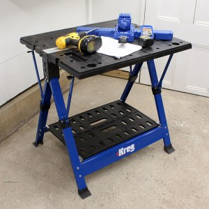 The Mobile Project Center is a workbench, it's an assembly table, a clamping station, it can be used as a sawhorse, it folds flat, and it's perfect for a small workshop!