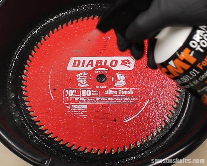 Clean saw blades by spraying the blade with saw blade cleaner and allow to soak for 15 minutes