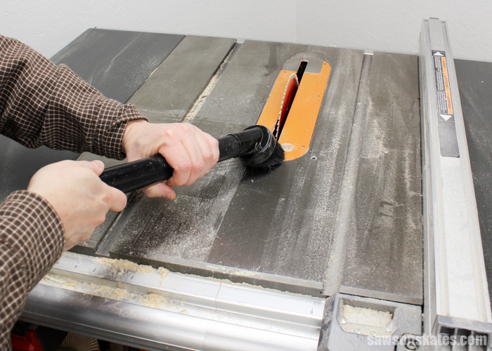 Wax your table saw - use a Shop-Vac to remove all the sawdust from the table saw