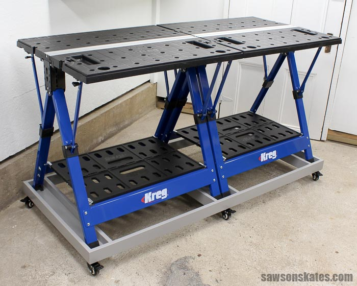 DIYers with small workshops need space-saving workbenches. This DIY rolling base transforms the Kreg Mobile Project Center into the Ultimate Workbench perfect for your small shop.
