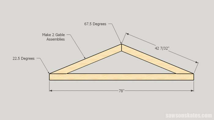 Dimensions for the roof gables for the DIY truck bed camper
